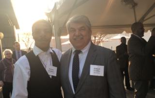 Mikva Challenge DC Project Soapbox Winner Velonte Chambers, along with Youth Champion Award Honoree, AFL-CIO President Richard Trumka, at the Spring 2018 Benefit to Support Mikva Challenge DC.
